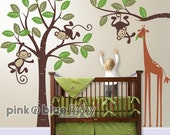 Wall Decals, Monkeys and giraffe , Nursery Kids Wall Decal, Nursery Wall Decor