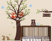 Vinyl Wall Decal, Small Animal Friends with Tree - Kids Vinyl Wall Sticker Decal Set