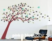 Modern blossom leaves Tree with birds :  Nursery Kids Removable Wall Vinyl Decal