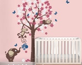 Two girl monkeys and elephant with cherry blossom tree - FREE Butterflies..