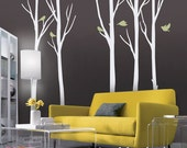 Wall Decal, Winter Tree with birds - Removable Wall Decal Wall Decor