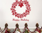 christmas wreath - Removable Wall Vinyl Decal