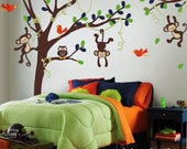Wall Decal , Tall Tree, Vines, Monkeys, Owl  and Birds - Baby Nursery Vinyl Wall Decals