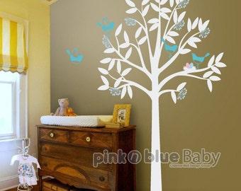 Tree decal, Birds, Nest, Nursery Kids Wall Vinyl Decal