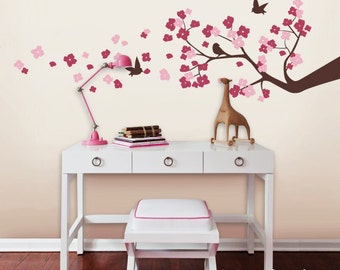 Wall Decals, Cherry Blossom Branch, Birds,  Nursery Kids Removable Wall Decal
