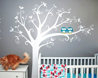 Wall Decal, Lovely tree with owls - Nursery Kids Removable Wall Vinyl Decal