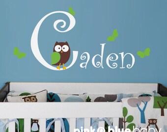 Owl, Butterflies, Custom Baby Name- Kids Vinyl Wall Sticker Decal Set
