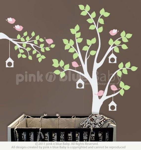Wall decals, The Birds & Bird Houses on the Tree - Nursery Kids Removable Wall Vinyl Decal