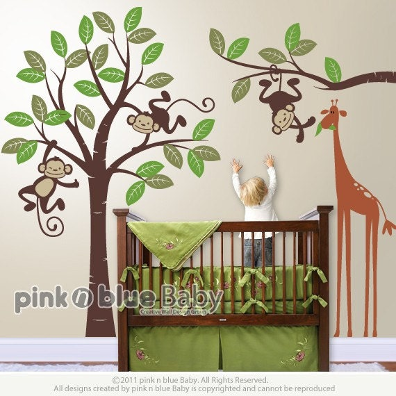 Wall Decals Monkeys And Giraffe Nursery Kids Wall Decal