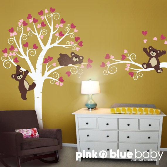 Wall Decals, Swirly Tree with Lovely Teddy Bears,  Nursery Kids Wall Decal