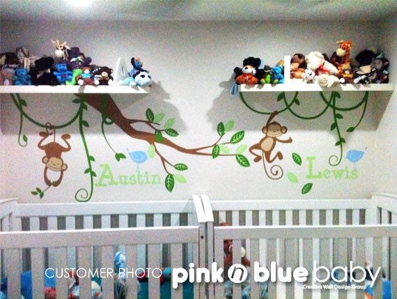 Nursery Wall Decals - Twin Baby Custom Names, Monkeys,  Vines  - Nursery Kids  Wall Vinyl Decal