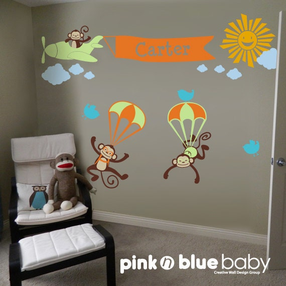 Monkeys Airplane with banner and Custom Name - Nursery Kids Wall Decal