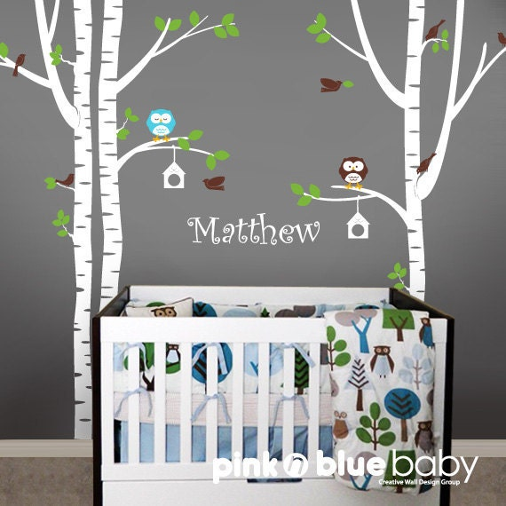Wall Decals Birch Tree Owl Bird And Custom Name By