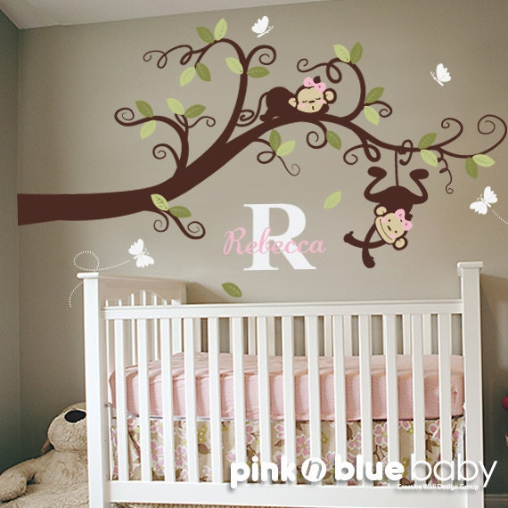 Baby Girl Nursery Decor Branch Tree Girl Monkeys by pinknbluebaby