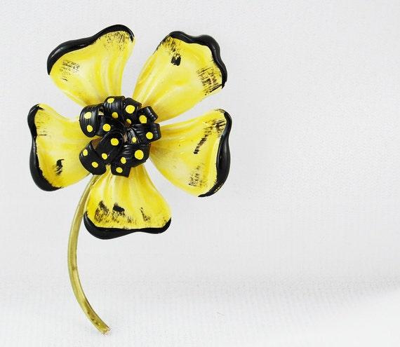 Vintage Enamel Yellow and Black Flower Brooch