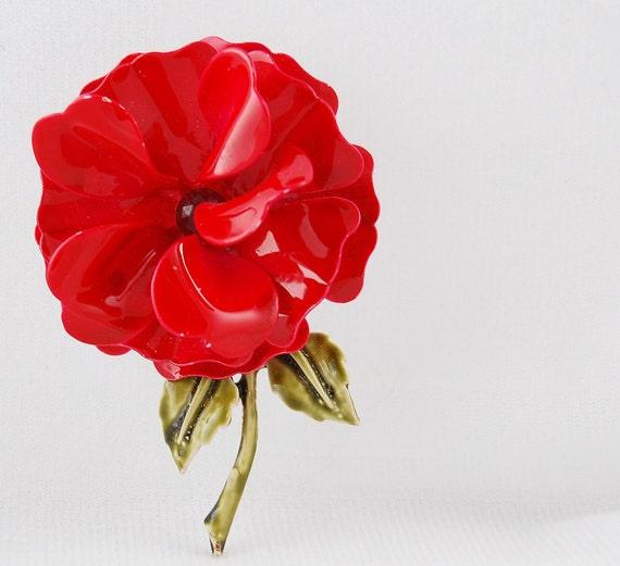 Vintage Red Enamel Flower Brooch with Red Rhinestone