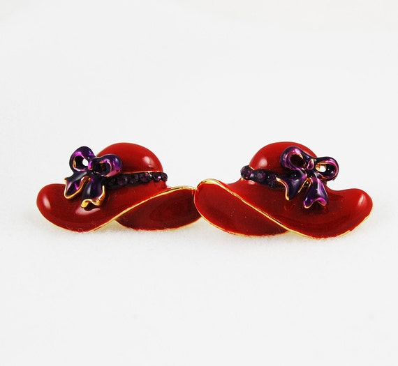Vintage Pierced Earrings - Red Hat with Purple Bows