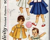 1960's Toddler's Dress and Coat With Detacahble Collar  Simplicity 3843  Size 2