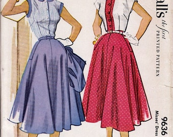 1953  Misses' Dress and Bolero  McCall's 9636   Size 14  Bust 32  Uncut
