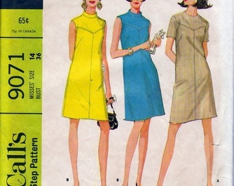 1967 Misses' Dress  McCall's 9071  Size 14  Bust 36