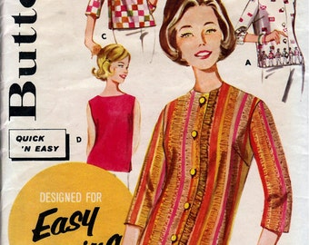 1960's Misses' Overblouse  Butterick 2324  Size 14  Bust 34