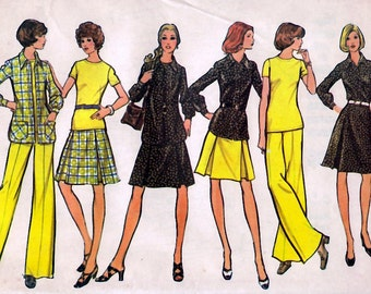 1973 Misses' Shirt-Jacket, Top, Skirt and Pants  McCall's 3489  Size 18  Bust 40  Factory Folded