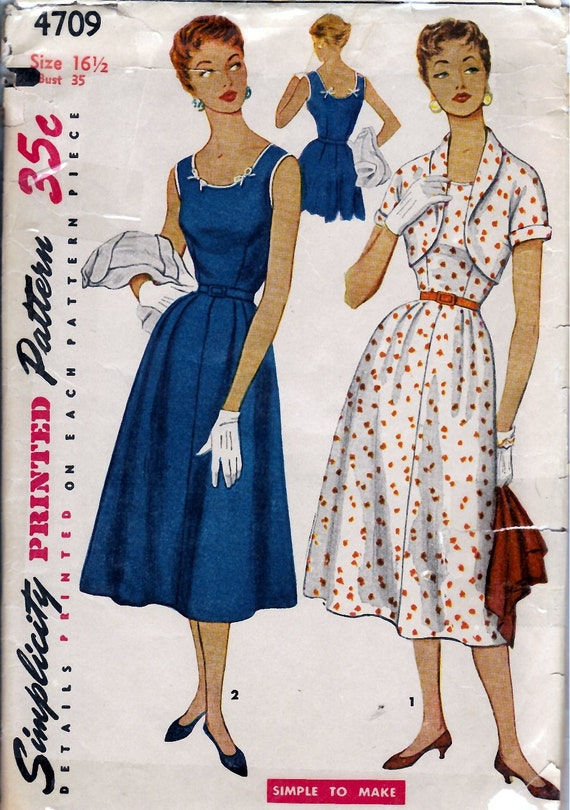 1950's Misses' and Women's One-Piece Dress and Bolero  Simplicity 4709  Size 16 1/2  Bust 35