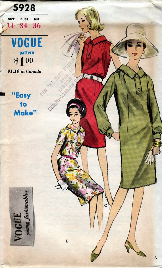 1960's Misses' One-Piece Dress Vogue 5928  Size 14  Bust 34