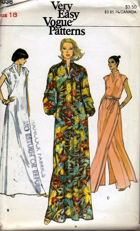 1970's Misses' Dress or Tunic, Pants and Belt  Vogue 7036  Size 18  Bust 40