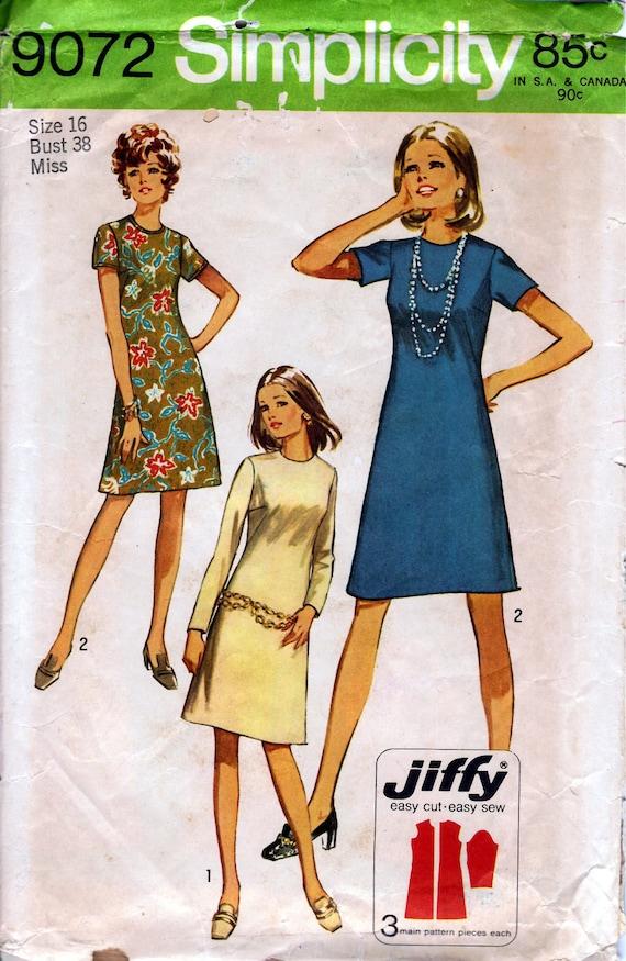 1970 Misses' Dress  Simplicity 9072  Size 16  Bust 38