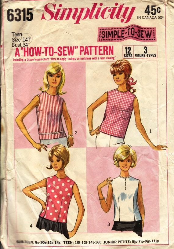 Bust 34-1968 Teens' Overblouse  Simplcity 6315  Size 14T