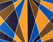 Art Deco Painting, Intersect, Abstract, Geometric, Modern, Original, Acrylic , Blue, Yellow, Brown, White, 36x48