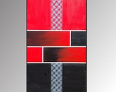 Red Black Silver Circle Textured Abstract Painting - Home Decor, Minimalist, Modern, Contemporary, 48 x 30