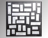 Urban Silver Block Abstract Painting - Minimalist, Abstract, Modern, Contemporary 12 x 12