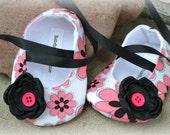 Baby Shoes Pink Black Floral Baby Ballerina Slippers