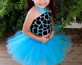 Tutu Turquoise Giraffe Tutu Baby Toddler Outfit Costume Set 3 pc (Tutu, Stylish Top, Headband/Hairclip)
