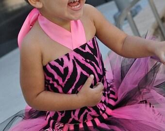 Toddler Hot Pink & Black Zebra Tutu Outfit Costume Set 3 pc (Tutu, Stylish Top, Headband)
