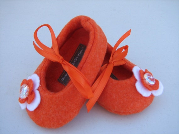 Orange Felt Baby Shoes - Soft Ballerina Slippers Baby Booties