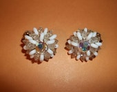 Vintage Crystal Flower Earrings