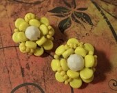 Vintage Yellow Floral Bead Earrings