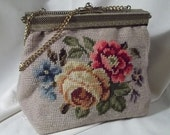 Very Vintage Floral Needlepoint Handbag with Ornate Brass Trim