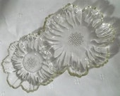 Vintage Clear Glass Flower Dish For Candy, Trinkets, Jewelry, Candles, Etc.