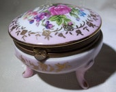 Vintage Pink, White, Footed, Porcelain Jewelry, Trinket, Ring, Box, With Hinged Lid, Gold Rose Highlights, Brass Trim, And Rose Floral Motif