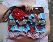 Ruffled Bag sewing PATTERN: The Layla Bag with free Pleated Flower Tutorial. small handbag with ruffles and pockets