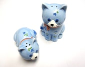 Otagiri Handcrafted Blue Cat Salt And Pepper Shakers