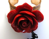Run For The Roses Cowgirl Bling Western Bracelet Worked Copper Cuff  With Giant Red Rose