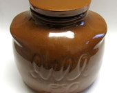 Brown Stoneware Cookie Jar House of Webster It'll Do Texas Collectible Pottery Crock