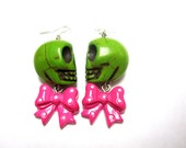 Lime Green Zombie Sugar Skull Earrings & Hot Pink Bow Dangles