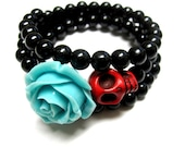 Day of the Dead 3 Loop Cuff Wrap Sugar Skull Jewelry Red Skull & Blue Rose