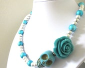 Summer Twilight Sugar Skull Necklace Day of the Dead Jewelry Turquoise Blue Rose & Silver Glass